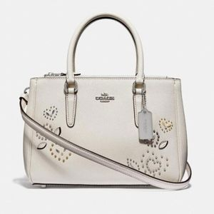 "Coach Crossbody Surrey ""Chalk"" with Heart Rivets"